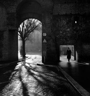 Entering the Eternal City, Aurelian Wall. Rome, Italy. 1955