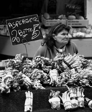 Asparagus Vendor, Paris Market. 1992