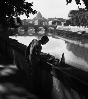 Painting by the Tiber, Rome, Italy. 1956